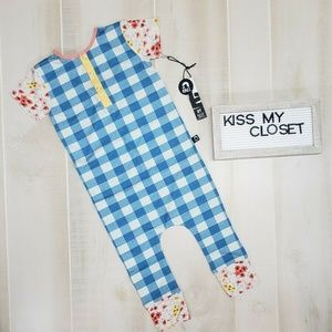 Rags to Raches Girls Romper Blue Check 2T NWT DZ3